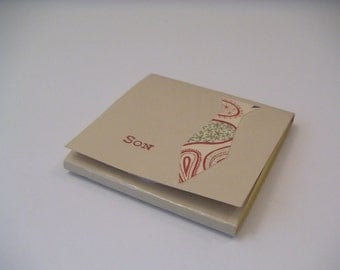 Tan Masculine Post-It Notes Pad with Paisley Necktie - Son - Just For Him Collection