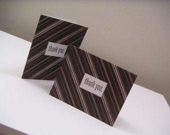 Black Diagonal Striped Set of Handmade Masculine Stamped Thank You Notes - Just for Him Collection