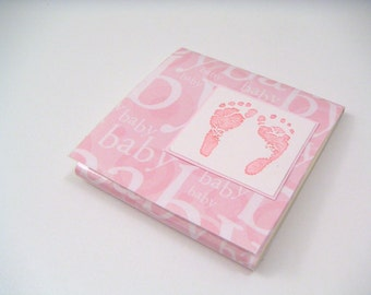 Pink Baby Feet Sticky Notes Pad and Baby Shower Favor