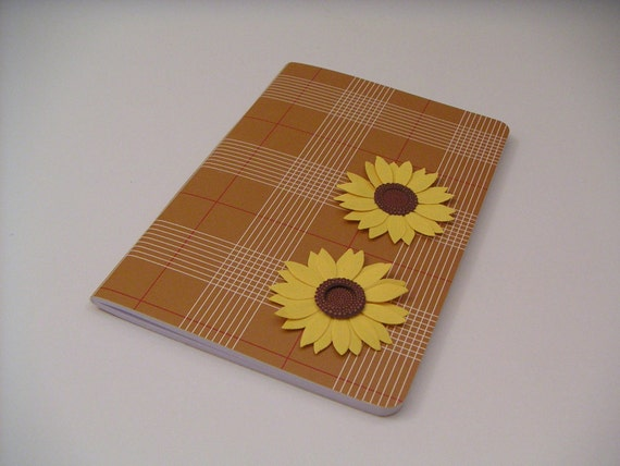 Brown and Red Plaid Journal with Yellow Sunflowers