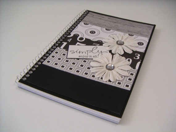 Black White and Gray Spiral Journal with White Paper Flowers - Simply Enjoy It All