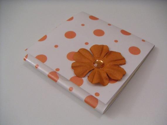 Sticky Notes Pad - Orange Polka Dot with Orange Paper Flower