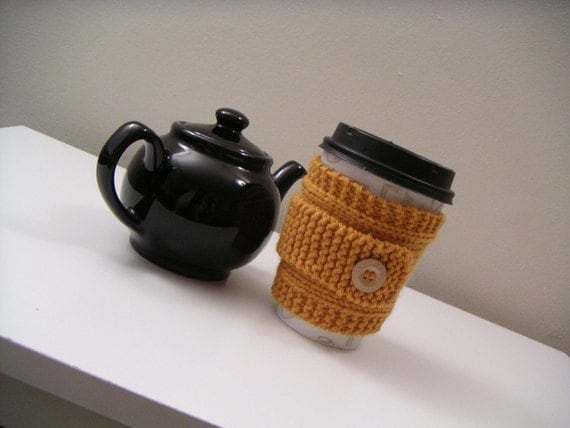 Orange Knit Cup Sleeve and Knitted Wrist Accessory - Pumpkin