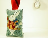 The White Rabbit Punchneedle Hanging Sachet, Christmas Ornament, Home Decor. Embroidery. Alice in Wonderland. by HarpandThistle