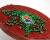 Peacock Feather Embroidery Hoop Art. Orange Silk, Green, Copper, Blue. Sparkly Spring Home Decor. Punchneedle Fiber Art HarpandThistle