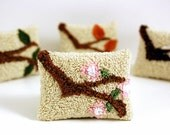 Spring Sachet Four Seasons Series - Spring Branch Punchneedle Pink Blossoms Lavender and Lemongrass Spring Home Decor Under 25 Ready to Ship