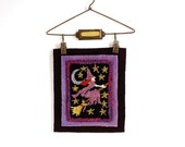 Flying Witch on Broomstick Halloween Decor. Punch Needle Embroidery. Purple, Black, Yellow Stars, Silver Moon. Autumn, Fall.
