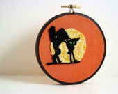 Halloween Home Decor. Black Cat and Full Moon. Orange, Black, Yellow. Glow in the Dark Embroidery Hoop Art by HarpandThistle