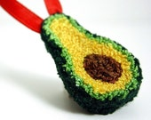 Avocado Christmas Ornament. Punchneedle. Food Art. Spring Green, Light Green, Red Ribbon. Gift for Foodie, Guacamole