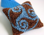 Celtic Triskelion Christmas Tree Ornament. Holiday Home Decor. Punchneedle Embroidery. Turquoise and Chocolate Brown. Balsam Fir Sachet.