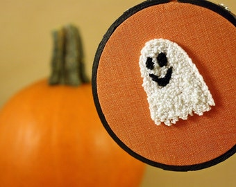 Ready to Ship! Halloween Decor. Glow in the Dark Cute Ghost. Orange, Black, White. Fall, Autumn Punch Needle Embroidery Hoop Art