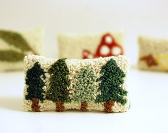 Pine Tree Miniature Balsam Fir Sachet. Punchneedle Embroidery. Forest Green, Cream, Brown. Dollhouse Pillow, Home Decor