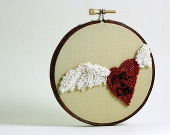 Valentine Personalized Winged Heart Embroidery Hoop Art. Punchneedle. Red, White. Wedding Gift,  Initial Personalization. Eco Friendly