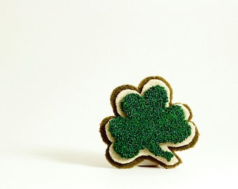 Ready to Ship! St. Patrick's Day Shamrock Punch Needle Pin. Emerald Green. Spring Fashion. St. Paddy's Day. Luck of the Irish