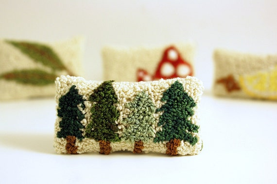 Ready to Ship! Pine Tree Miniature Balsam Fir Sachet. Punchneedle Embroidery. Forest Green, Cream, Brown. Dollhouse Pillow, Home Decor