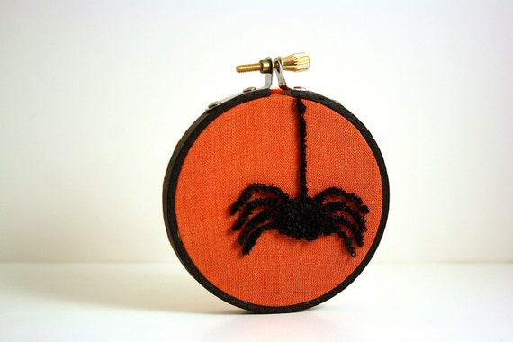 Ready to Ship! Spider Halloween Decoration. Autumn Fall Home Decor. Orange and Black. Punch Needle Embroidery Hoop Art 3 inch hoop