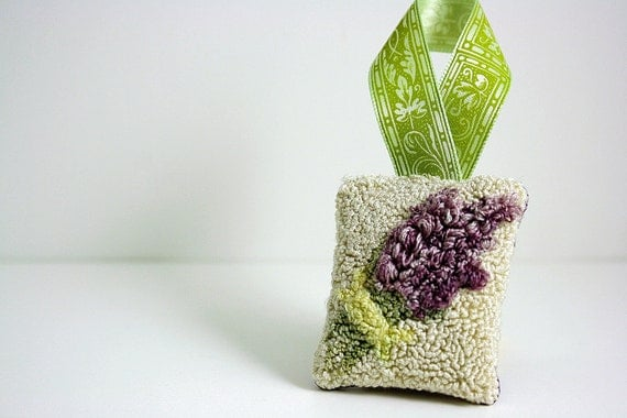 Lavender Christmas Ornament or Hanging Sachet. Punchneedle Embroidery. Purple, Cream, Green. Holiday Home Decor For Her. Ready to Ship