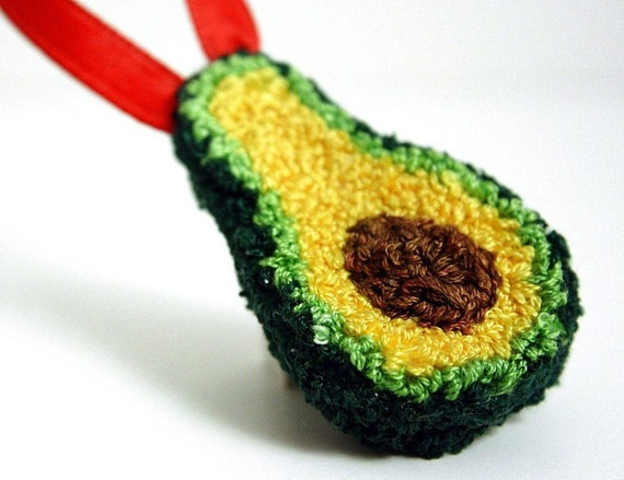 Avocado Christmas Ornament. Punchneedle. Food Art. Spring Green, Light ...