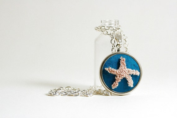 Starfish Silver Necklace. Spring, Summer. Ocean Blue Silk, Nautical Theme. Punch Needle Embroidery. Sea Inspired Fashion, Mermaid.