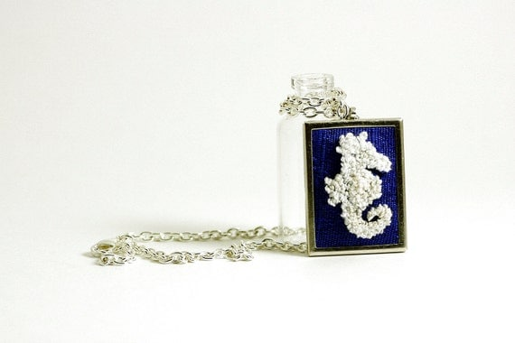 Seahorse Silhouette Nautical Jewelry on Cobalt Blue Silk. Silver Necklace, Rectangular. Punch Needle Embroidery.