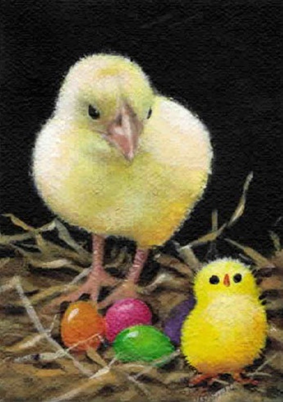 ACEO  Easter Chicks and Jelly Beans                                              Original Acrylic Painting