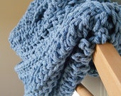 Free Shipping, Blue Infinity Scarf, Blue Cotton Cowl, pale blue scarf