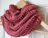 FREE SHIPPING Valentine's Day Pink Scarf, Infinity scarf, cotton cowl in Dusty Rose