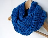 Free Shipping, Blue Valentine, Electric Blue Infinity Scarf, Bright Jewel Blue, Cotton Cowl, Blue scarf