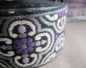 Caratacus jacquard woven ribbon in PURPLE and SILVER