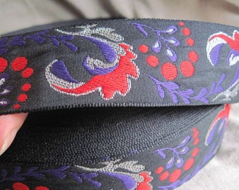 Adrea's Plume jacquard ribbon in PURPLE Red and Silver on Black
