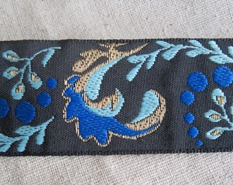 Adrea's Plume Jacquard ribbon in blue and gold