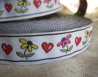 DAISY and HEART jacquard ribbon
