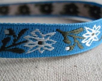 Winter blooms Jacquard Ribbon in BLUE