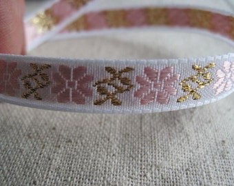 Mountain Flower in PINK and GOLD jacquard woven  ribbon
