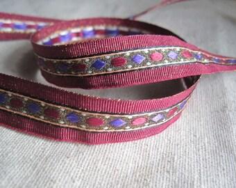 Diamond pond Metallic Jacquard ribbon Maroon