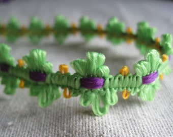 LIME green and GRAPE flower trim