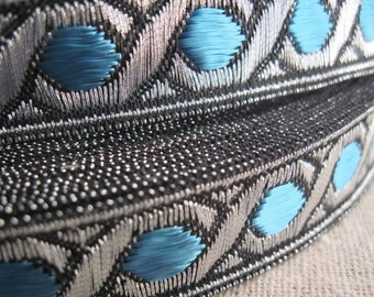Celtic Chain Metallic Jacquard Ribbon in TEAL and SILVER