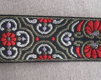 Caratacus CELTIC pattern woven jacquard ribbon in RED, gold on black