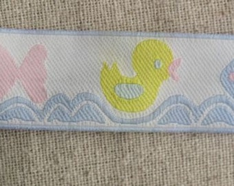 Duck and Fish jacquard ribbon in light BLUE, YELLOW and light PINK