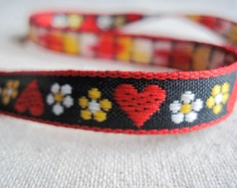 Hearts and Blooms woven jacquard ribbon BLACK