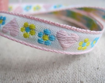 Hearts and Blooms woven jacquard ribbon light PINK