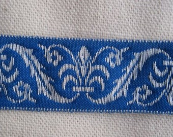 Corinthian Plume Jacquard Ribbon  in ROYAL blue and SILVER