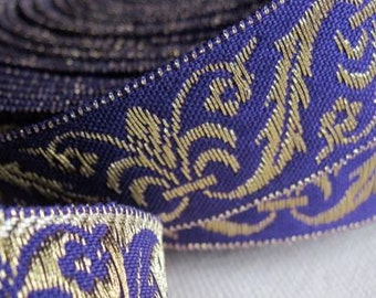 Corinthian Plume Jacquard Ribbon in GOLD  and PURPLE
