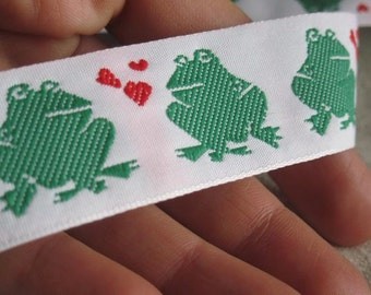 Kissing Frogs Jacquard Ribbon