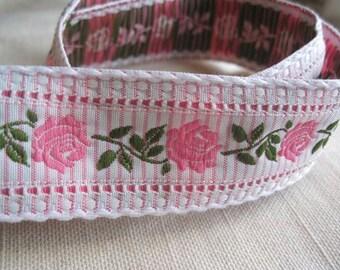 High End Roses striped jacquard woven ribbon