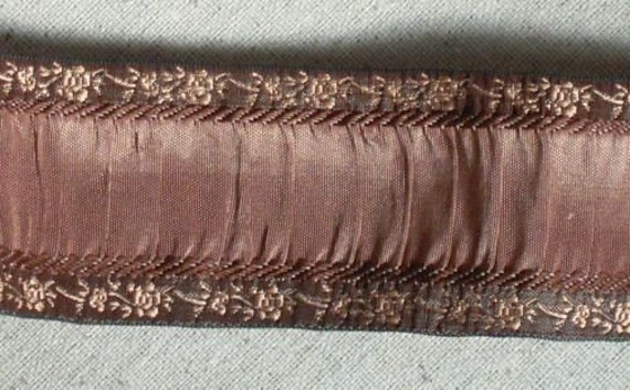 Ruched ribbon with jacquard edge BROWN