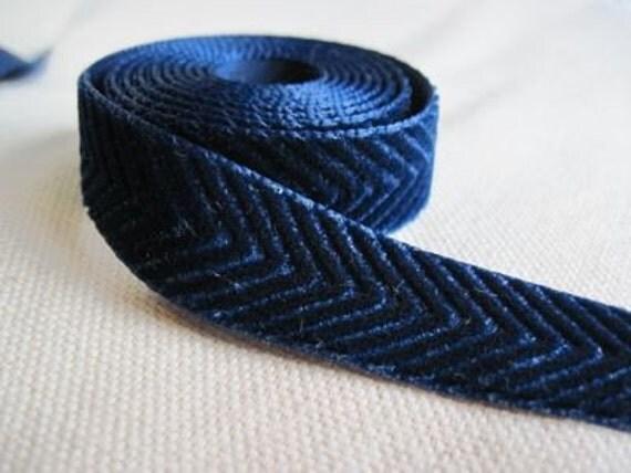 BLUE velvet Chevron Ribbon