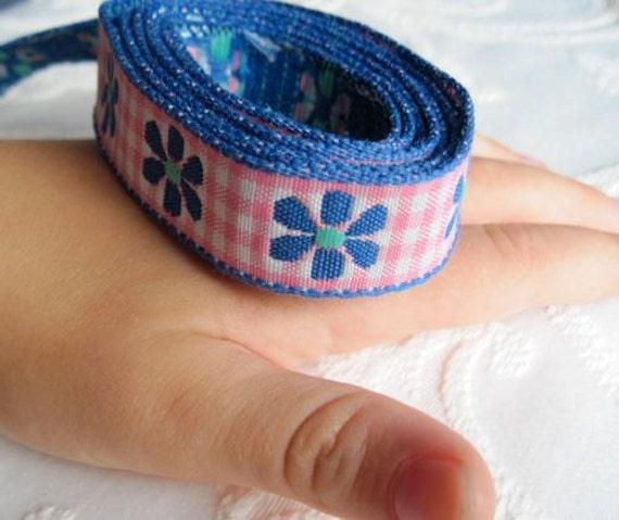Royal BLUE Daisy on PINK Gingham Ribbon