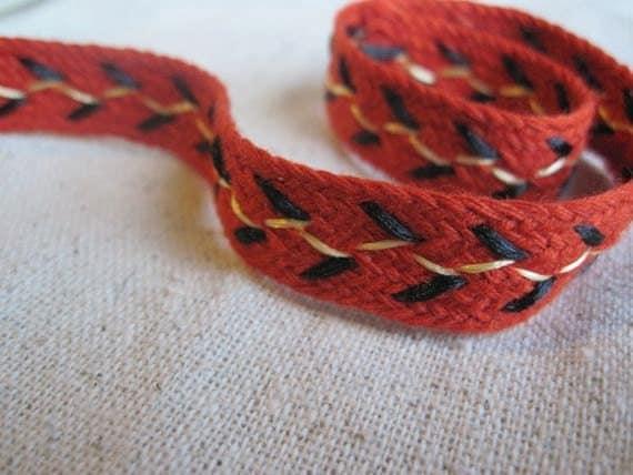 ORANGE stitch braid trim