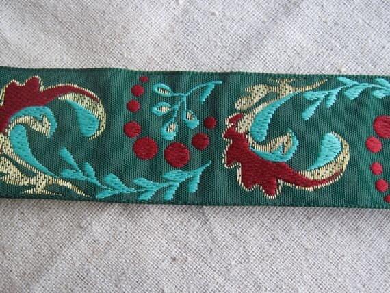Adrea's Plume jacquard ribbon in Aqua Crimson Red and Gold on  Green